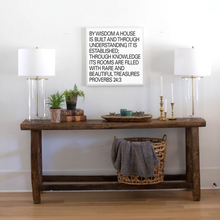 Load image into Gallery viewer, Square wood sign with Proverbs 24:3 Scripture