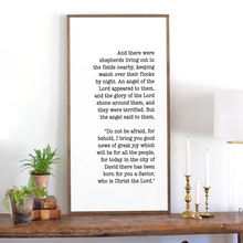 Load image into Gallery viewer, Christmas holiday sign featuring Scripture from Luke 2:11