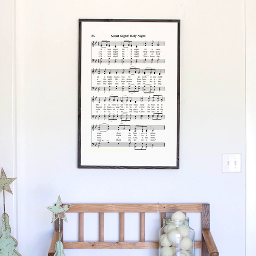 Silent Night sheet music farmhouse wood sign