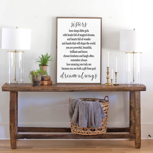 Sisters Quote on Framed Farmhouse Wood Sign