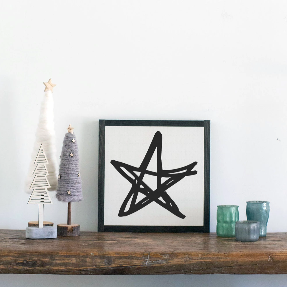 Farmhouse holiday wood sign with star graphic