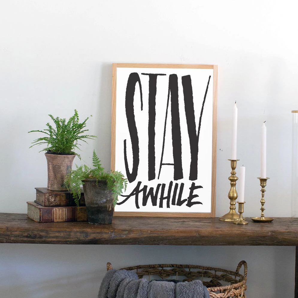 Stay Awhile Hand Lettered Wood Sign