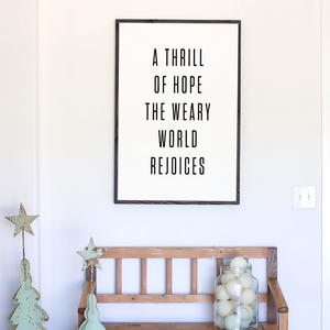 White Background A thrill of hope modern farmhouse sign