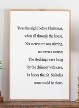 Load image into Gallery viewer, Zoomed in view of Twas the night before Christmas modern farmhouse sign