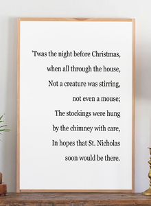 Zoomed in view of Twas the night before Christmas modern farmhouse sign