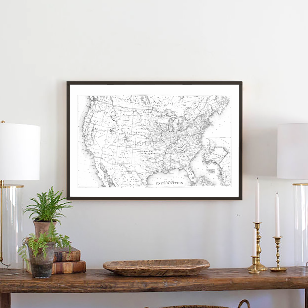 United Stated map framed wood sign