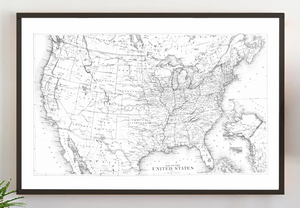 Farmhouse wood sign with vintage United States map