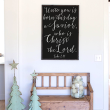 Load image into Gallery viewer, black background sign modern farmhouse sign Unto you is born this day