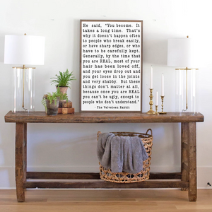 Modern farmhouse wood sign with Velveteen Rabbit quote