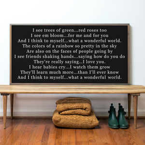 Black background what a wonderful world lyrics farmhouse wood sign