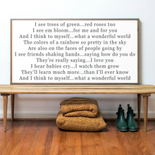 Load image into Gallery viewer, Landscape orientation farmhouse sign with what a wonderful world lyrics