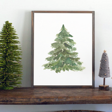 Load image into Gallery viewer, Watercolor cedar tree Christmas farmhouse sign