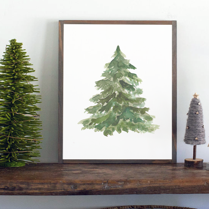Watercolor cedar tree Christmas farmhouse sign