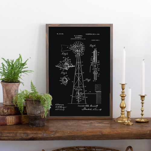 Windmill Patent Framed Wood Sign