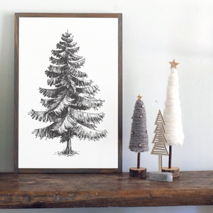 Framed wood holiday sign with sketch of Christmas tree