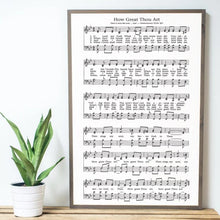 Load image into Gallery viewer, Framed wood sign with sheet music to How Great Thou Art  hymn