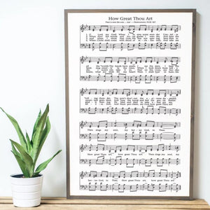 Framed wood sign with sheet music to How Great Thou Art  hymn