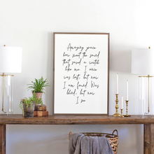 Load image into Gallery viewer, Lyrics of Amazing Grace with modern font on a wood sign