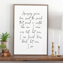 Load image into Gallery viewer, Amazing Grace lyrics Modern Farmhouse sign