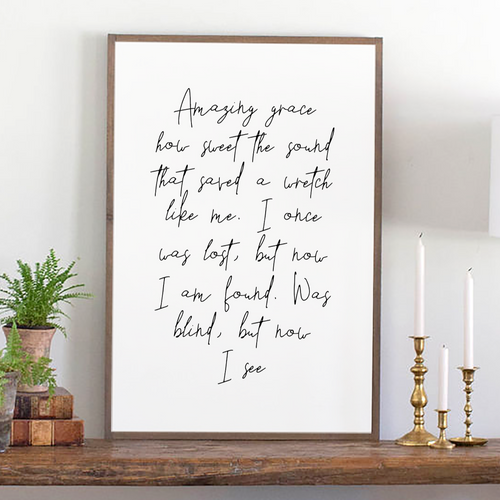 Amazing Grace lyrics Modern Farmhouse sign