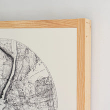 Load image into Gallery viewer, Corner view of map wood sign and cypress frame