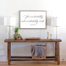 Load image into Gallery viewer, You are fearfully and wonderfully made framed wood sign for nursery