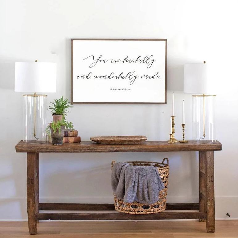 You are fearfully and wonderfully made framed wood sign for nursery