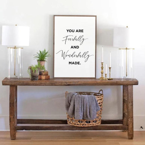 Fearfully and Wonderfully (vertical) Wood Sign