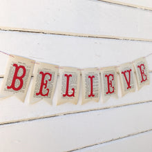 "Load image into Gallery viewer, ""Believe"" Christmas Banner"