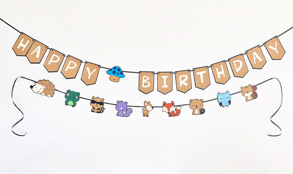 Woodland Creatures Birthday Party Banners
