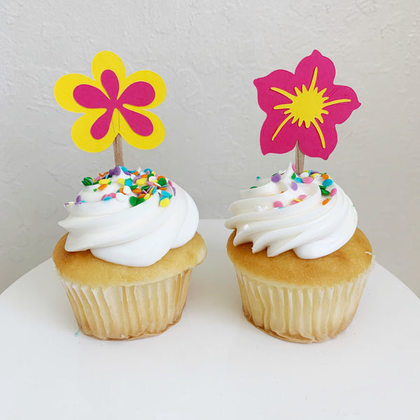 Tropical Flower Cupcake Toppers, set of 12