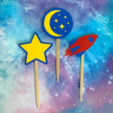 Rocket Ship Party Cupcake Toppers, Set of 12