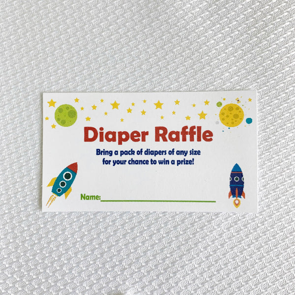 Rocket Ship Diaper Raffle Cards, set of 20