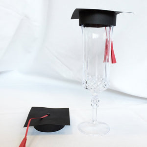 Graduation Cap Champagne Flute Toppers, set of 10
