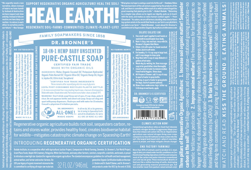 Dr. Bronner's Liquid Soap, Baby, Unscented