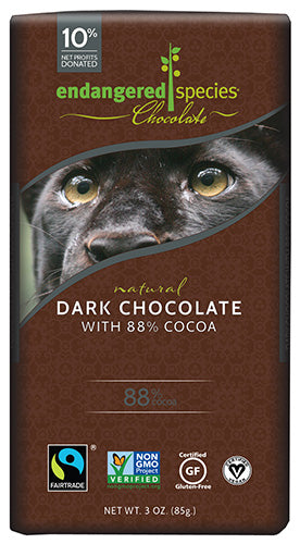 Dark Chocolate Bar, Endangered Species, 88% Cocoa