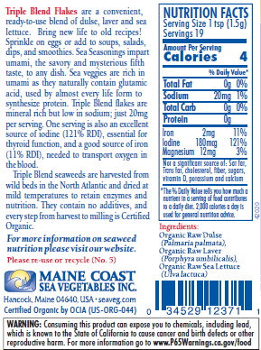Triple Blend Flakes Sea Seasoning, Organic  by Maine Coast Sea Vegetable