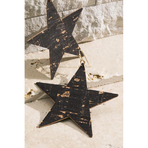 "The ""Vela"" Cork Star earrings (Black)"
