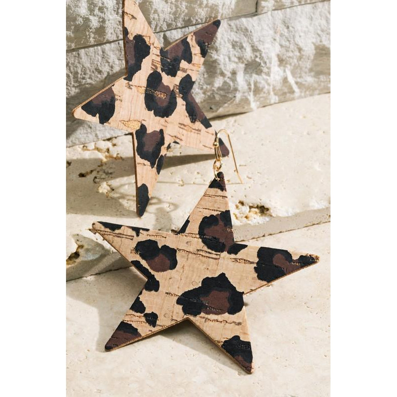 "The ""Vela"" Cork Star earrings (Leopard)"