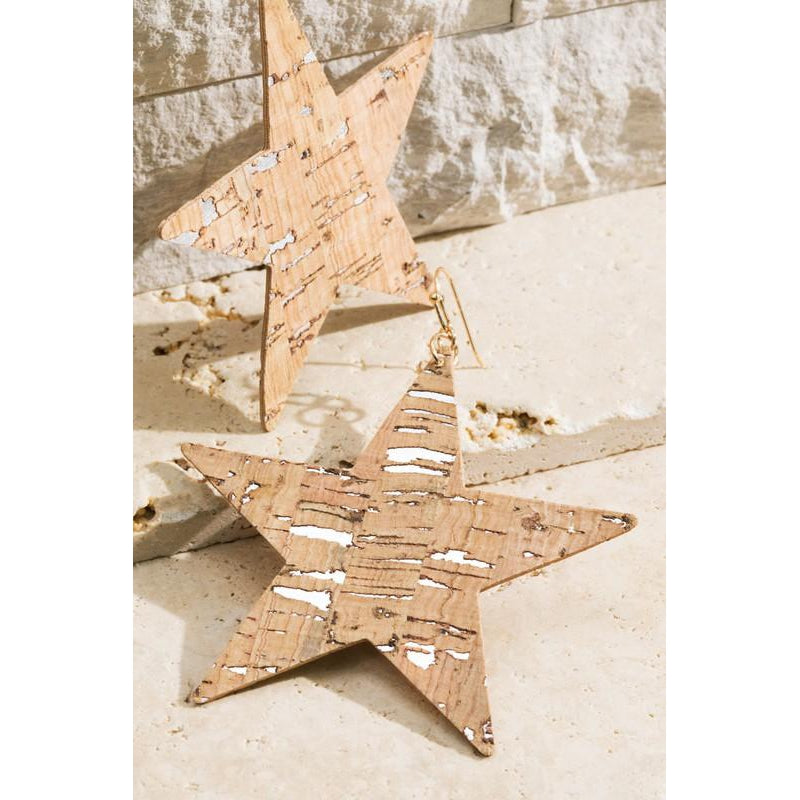 "The ""Vela"" Cork Star earrings (Natural)"