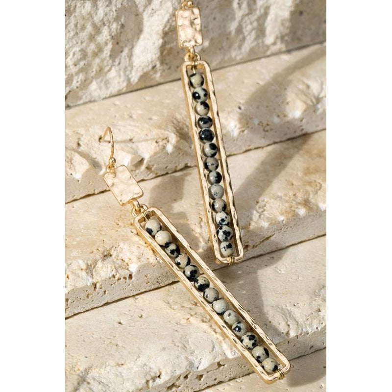 "The ""Lux"" Hammered gold bar earrings (Dalmatian)"