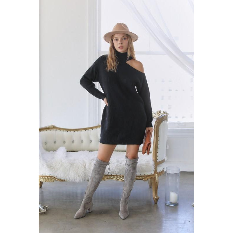 """Janna"" Cold shoulder sweater dress"
