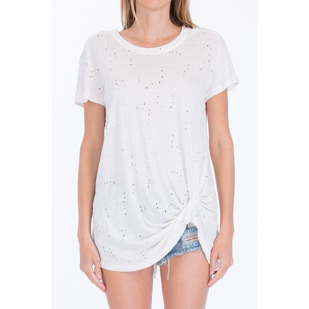 Candace Distressed Knotted Tee