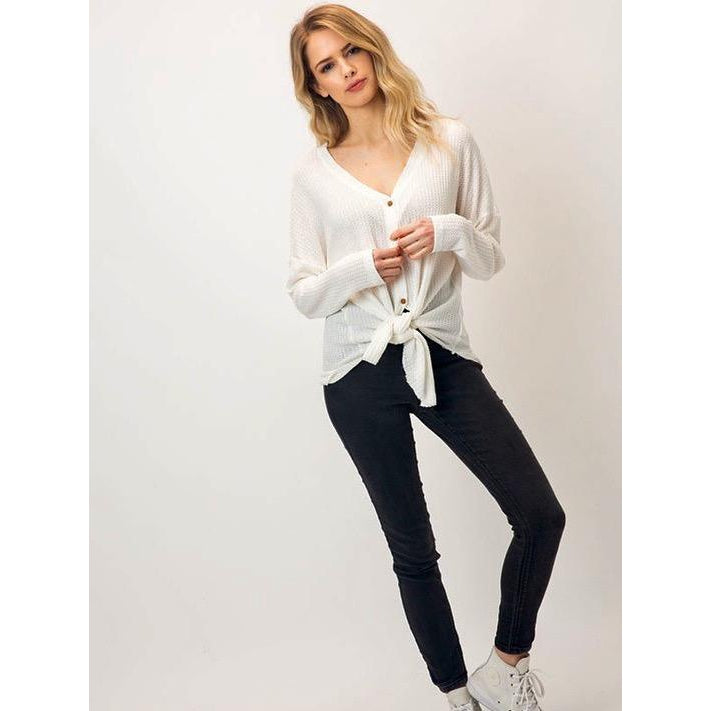 "The ""EMMA"" waffle front tie long sleeve - Cream"