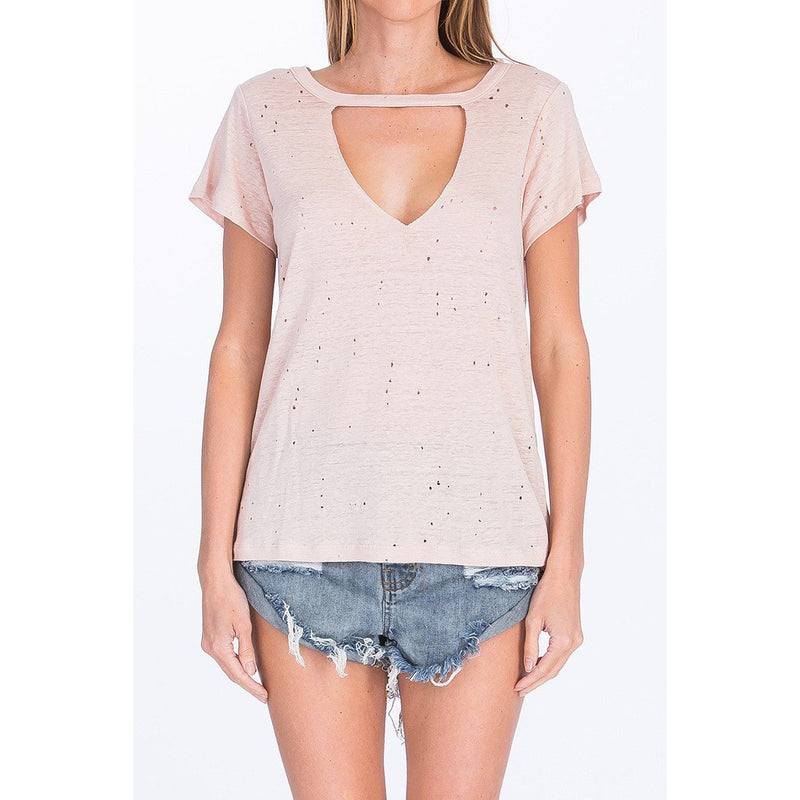 Josie V-neck Distressed Tee - Blush