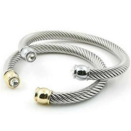 The Cable Cuff Bracelet - Gold & Silver