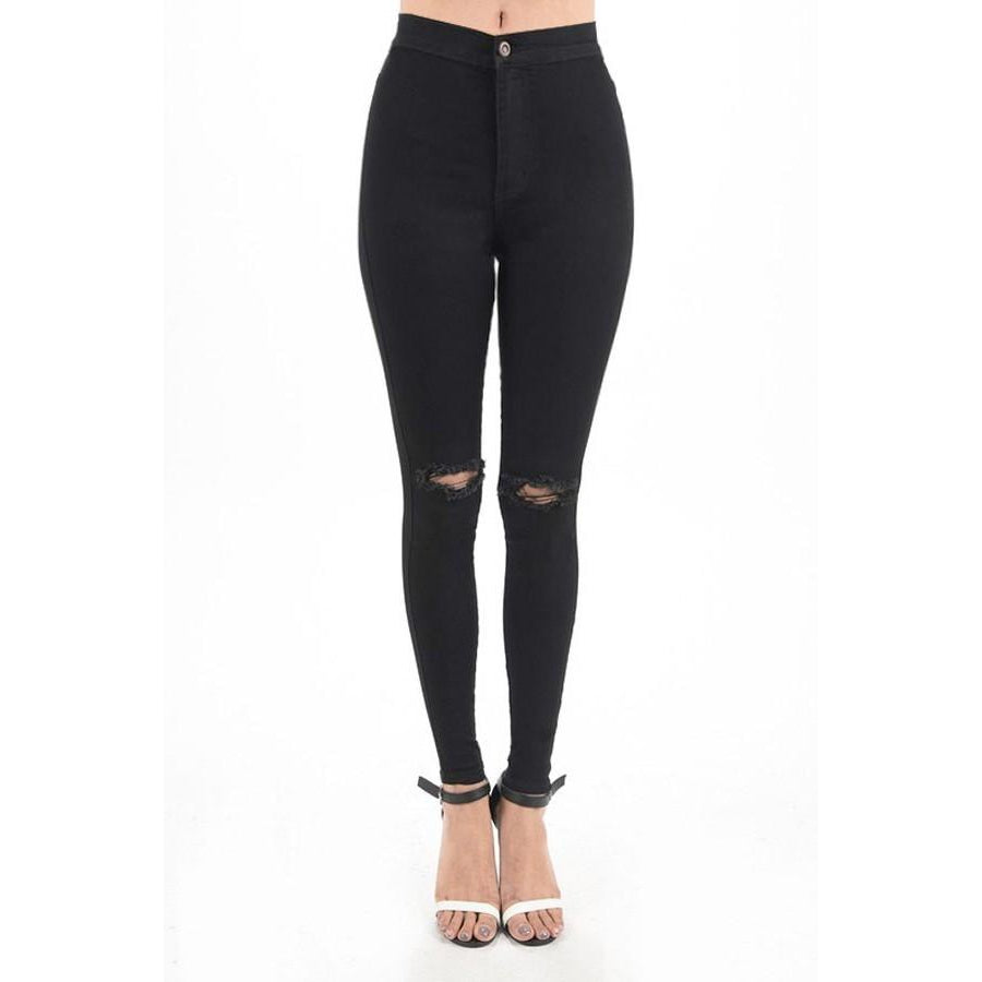 Tessa High-Rise Distressed Black Skinny Jeans