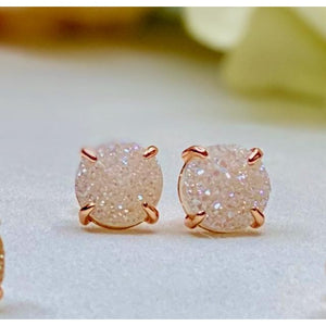 Paris Druzy Earrings - Rose Gold & White