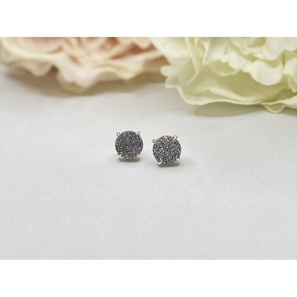 Paris Druzy Earrings - Silver & Grey