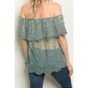 """Priscilla"" Off the Shoulder Lace top - Sage"